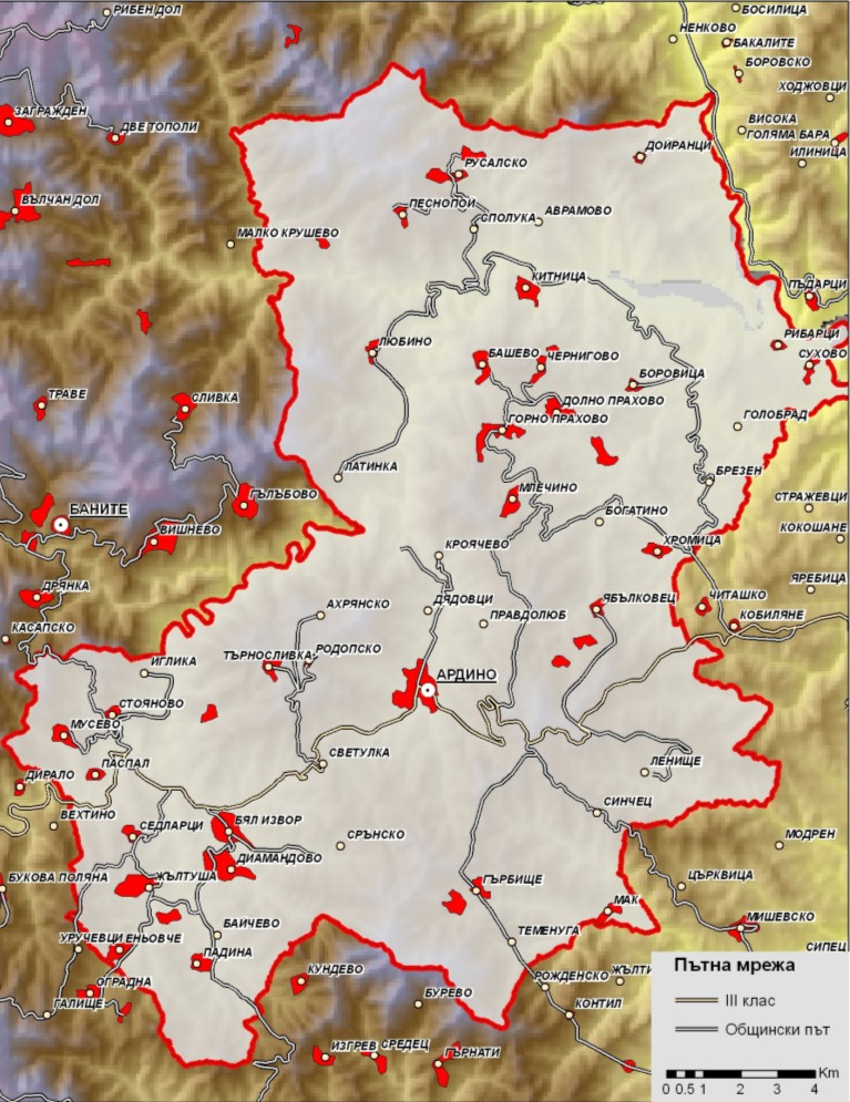Транспортна карта на община Ардино