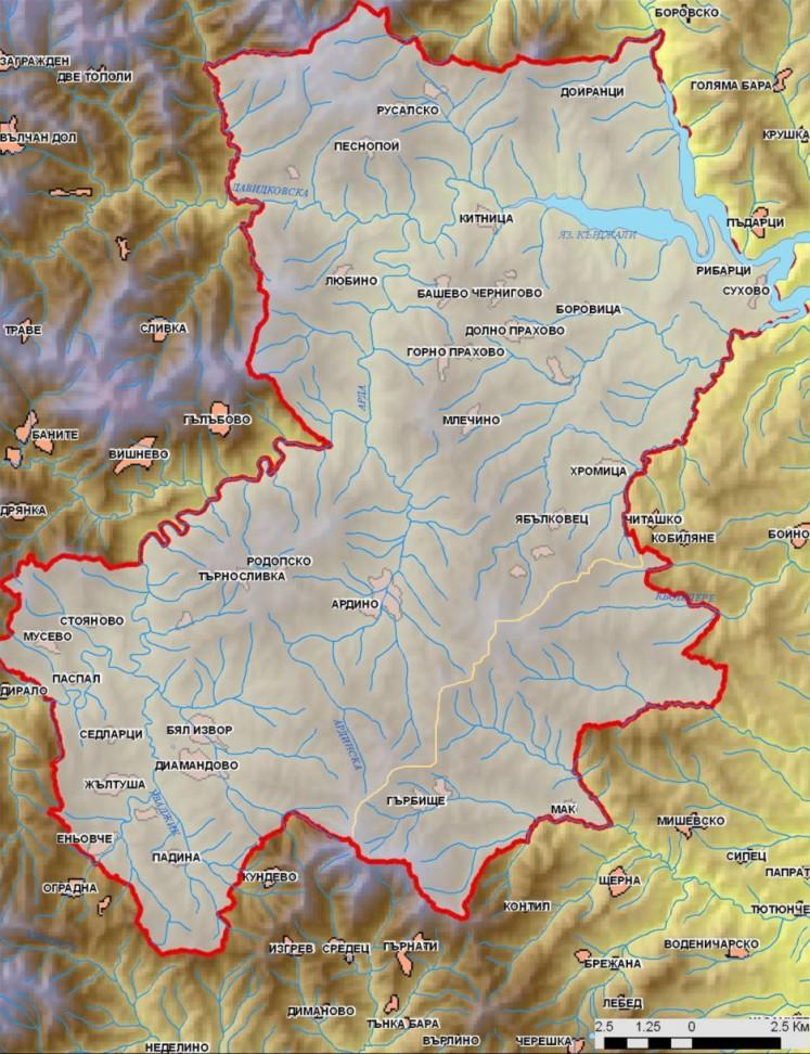 Карта на водните ресурси в община Ардино